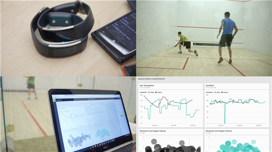 Squash players can now wear Microsoft Bands which measures and displays their status in real time.